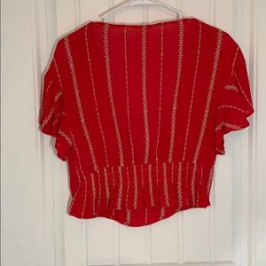 Lush Tops - Lush • Red w/ Nude Detail Crop Blouse